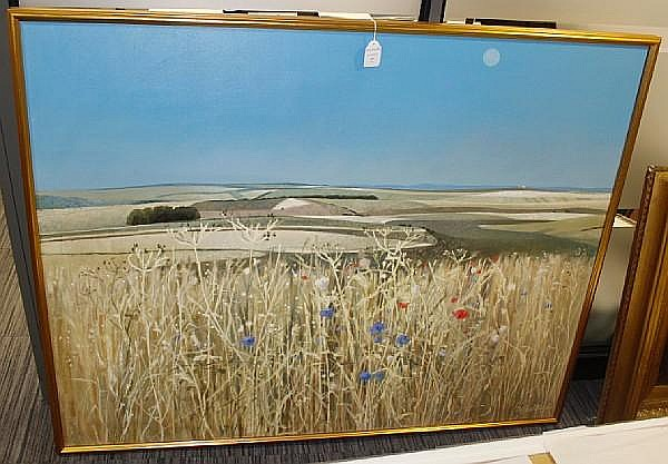 Clifford Bayly (British, born 1927) Cornfield with flowers