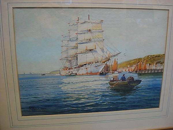 A D Bell (British, 20th Century) 'The White Clipper'; 'In Falmouth Harbour'