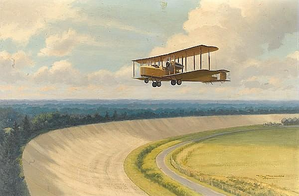 Roy Nockolds (British 1911-1980), 'Vickers Vimy over the Brooklands Banking',