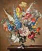 Stuart Scott Somerville (British, 1908-1983) A still life of delphiniums, foxgloves, poppies and peonies in a glass vase, Stuart Scott Somerville, Click for value