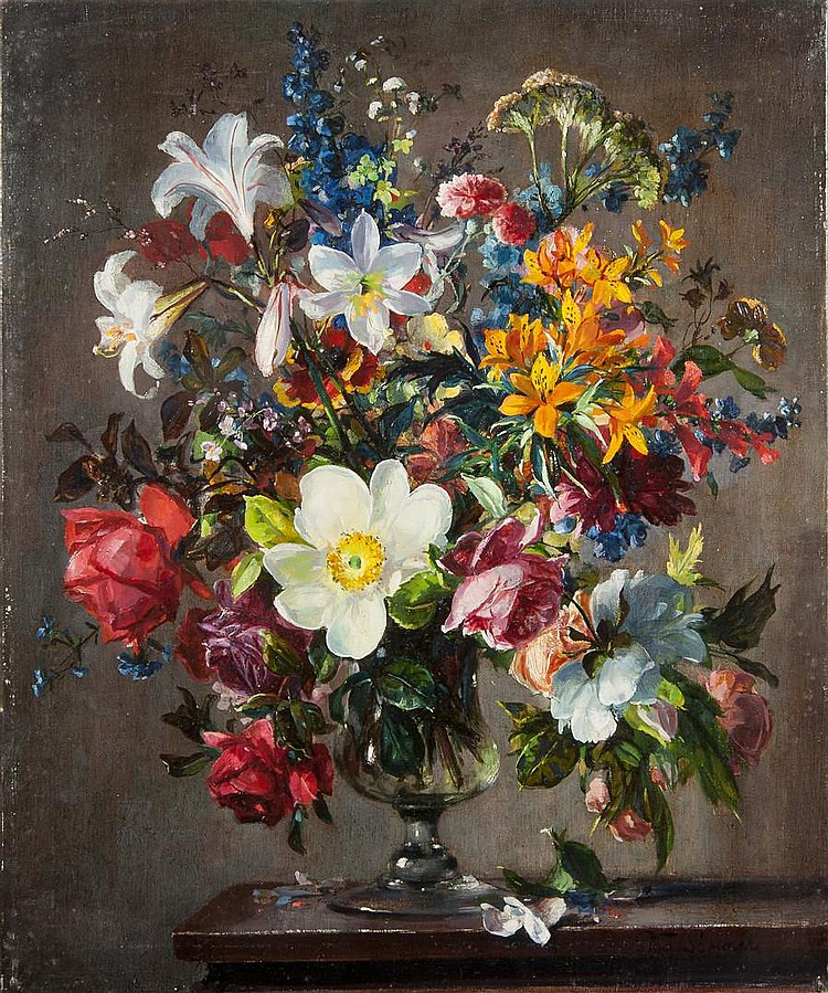 Stuart Scott Somerville (British, 1908-1983) Lillies, fresias and other flowers in a glass vase