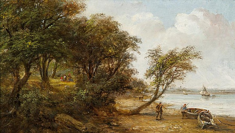Robert Burrows (1819-1883) A scene on the Orwell, possibly Nacton foreshore