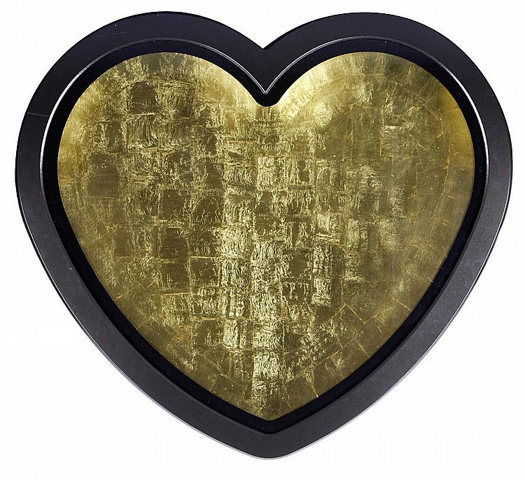 Ryan Callanan (RYCA) (b. 1981) Mega Heart 2011 signed and numbered 1/1 on the reverse fibreglass panel with gold leaf and enamel paint in an integral black-painted frame 110 by 120 cm. 43 5/16 by 47 1/4 in. This work was executed in 2011.