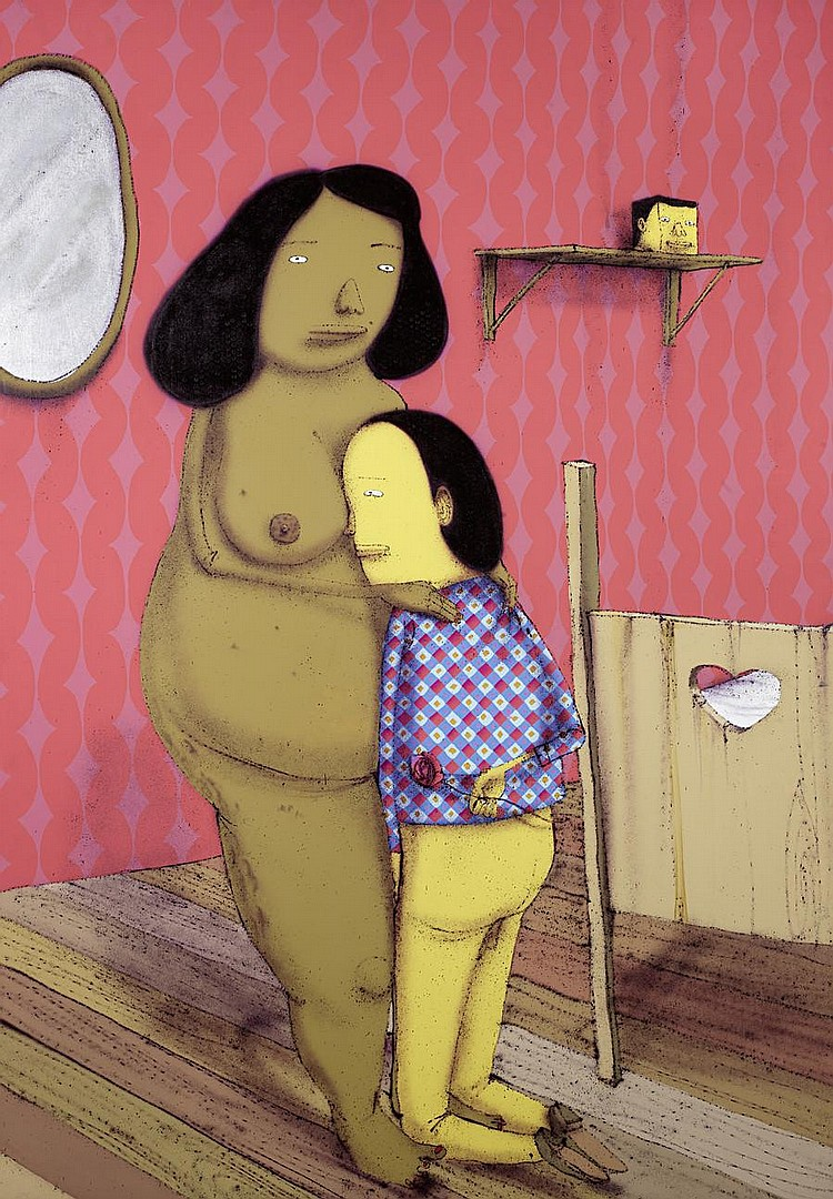 Os Gemeos (b. 1974) O Aniversario da Meretris 2008 spray paint and mixed media on canvas 211 by 147.5 cm. 83 1/16 by 58 1/16 in. This work was was executed in 2008.