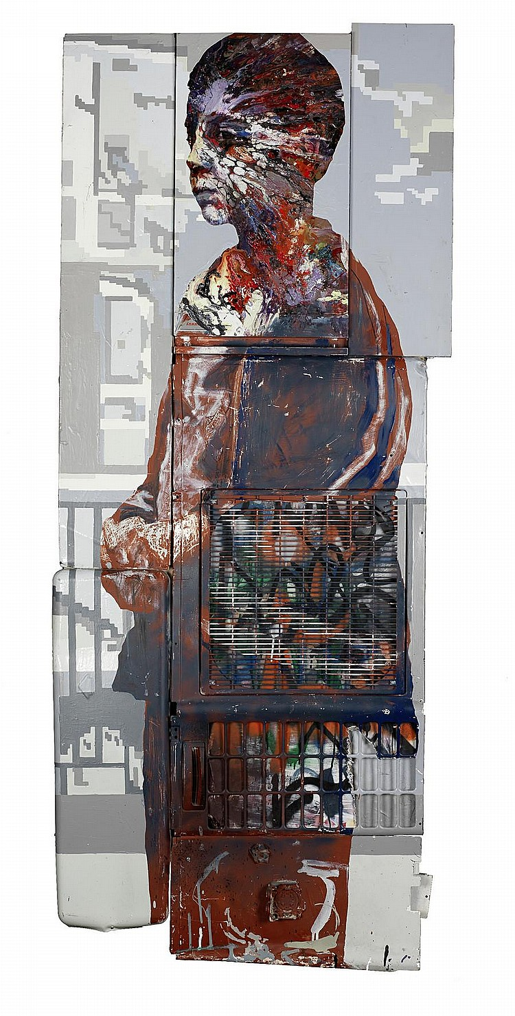 Matt Small (b. 1975) Mehmet 2007 signed and dated 2007 on the reverse mixed media on found wood and metal panel 213.1 by 87.5 cm. 83 7/8 by 34 1/2 in.