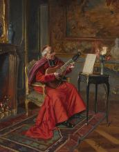 Bernard Louis Borione (French, born 1865) The Cardinal's solo 16 1/4 x 13in (41.4 x 33cm)