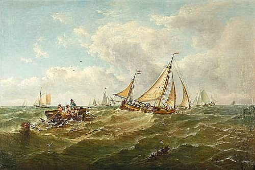 John Moore of Ipswich (British, 1820-1902) Fishing vessels at sea