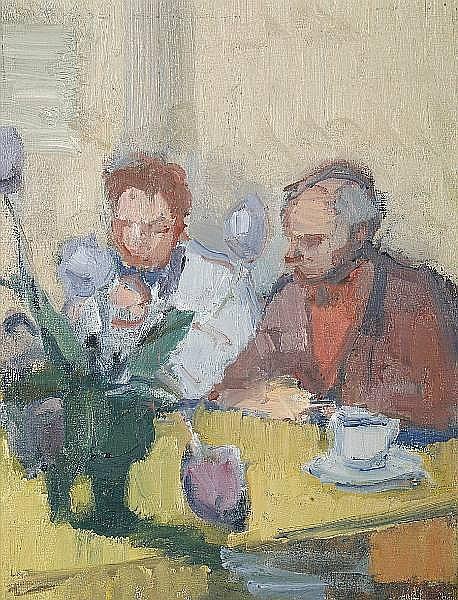 Michael Salaman (British, 1911-1991) Tea with tulips - Raymond Coxon and John Dodgeson