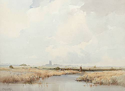 Charles Harrington (British, 1865-1943) 'A Norfolk river' 27 x 37.5cm (11 x 14 3/4in).