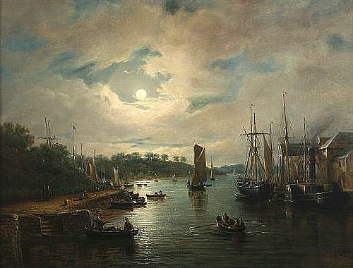John Moore of Ipswich (British, 1820-1902) Ipswich docks by moonlight Oil on panel, 40 x54.5cm (15 1/2 x 21 1/2in).