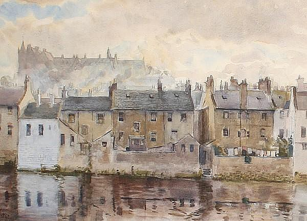 William Bruce Ellis Ranken (British, 1881-1941) Scottish town scenes, a set of two 45 x 67.5cm (17 11/16 x 26 9/16in) and 42 x 59.5cm (16 1/2 x 23 3/8in). (2)