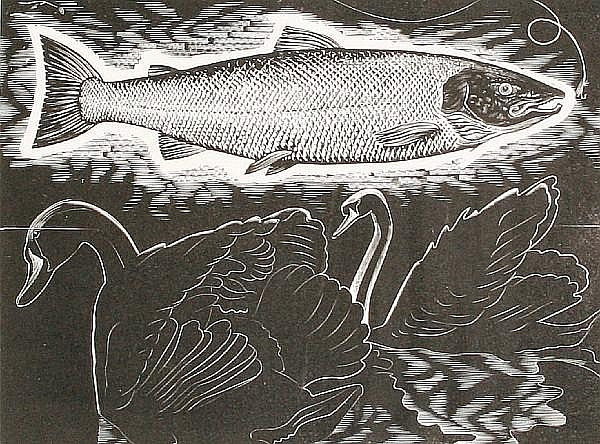 George William Tute (British, born 1933) 'Swan and Salmon'