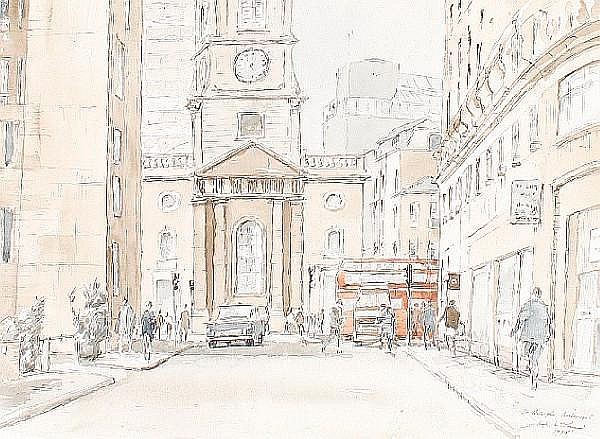 Hugh McKenzie (British 1909-2005) A quantity of unframed watercolours, pencil and pen and ink sketches of the West End and the City, London