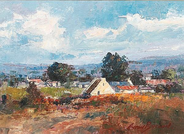 Anton Benzon (South African, born 1944) Landscape with farmstead