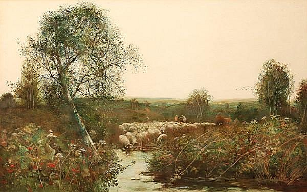 Frederick Hines (British, active 1875-1897) Farm lane, Surrey; and another similar (a pair)