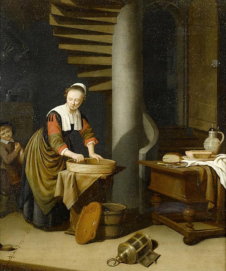Adriaen van Gaesbeeck (Leiden 1621-1650) A kitchenmaid ironing