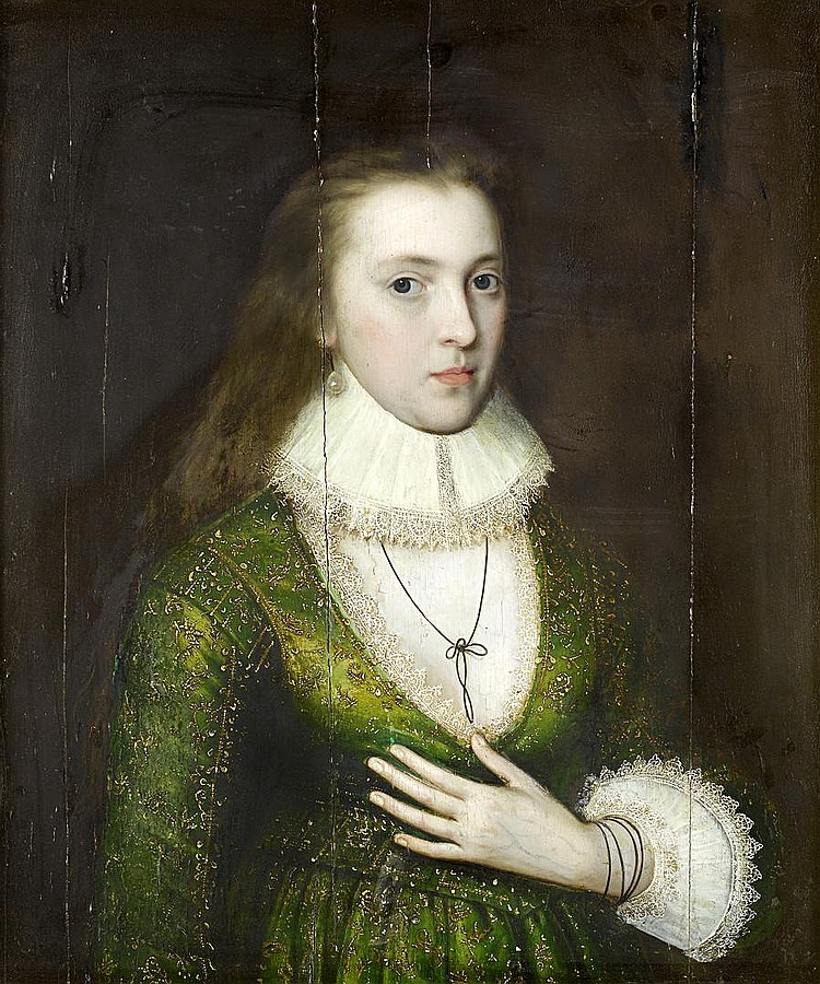 Attributed to William Larkin (active 1580-1619 London) Portrait of a lady, said to be Lady Mary Darrell (died 1598), half-length,