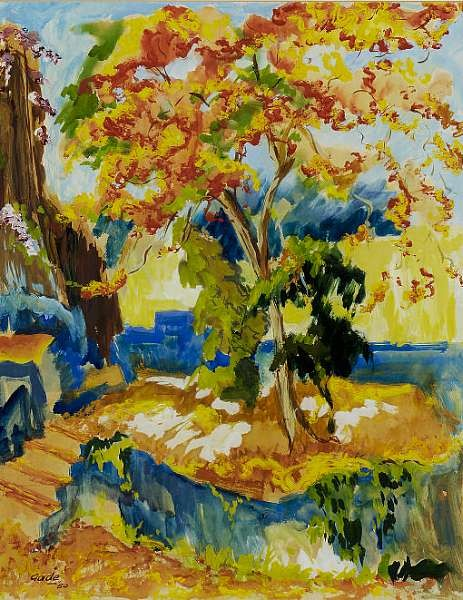 Hari Ambadas Gade (India, b. 1917) <br>Gub Moher from Mrs. Clark&#39;s Garden, Bombay