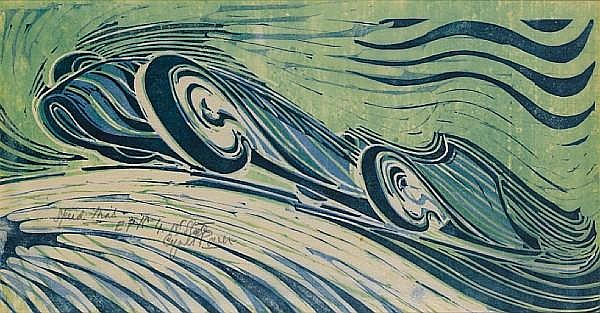 Cyril Edward Power (British, 1872-1951) Speed Trial Linocut, circa 1932, from three blocks, printed in viridian, permanent blue and Chinese blue, on buff oriental laid tissue, signed, titled and inscribed