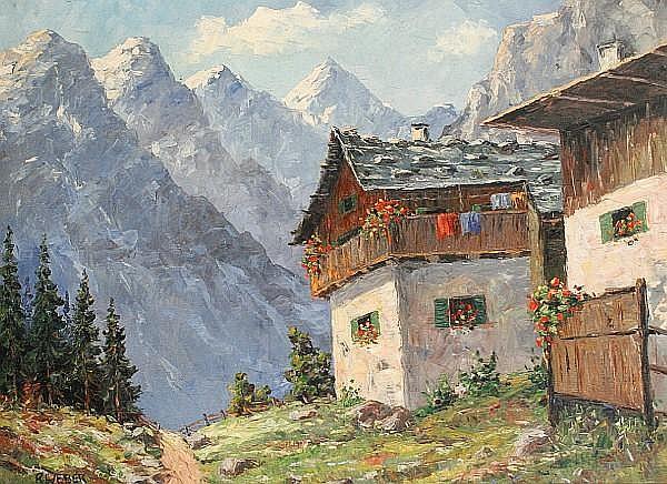 Rudolf Weber (Austrian, 1872-1949) A summer chalet