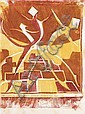 Ursula Fookes (British, 1906-1991) Two colour linocuts 'Dancers' and 'Colonnade', 1930, on tissue thin japan, 255 x 175mm (10 x 6 5/6in)(and smaller)(SH) 2 unframed, Ursula Mary Fookes, Click for value