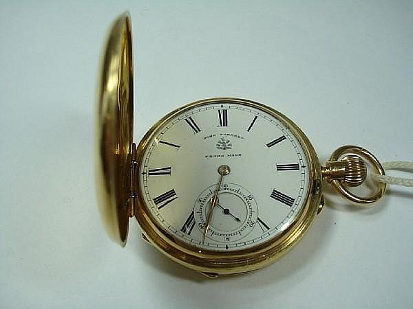An 18ct gold hunter pocket watch, by John Forrest of London, Chester 1893