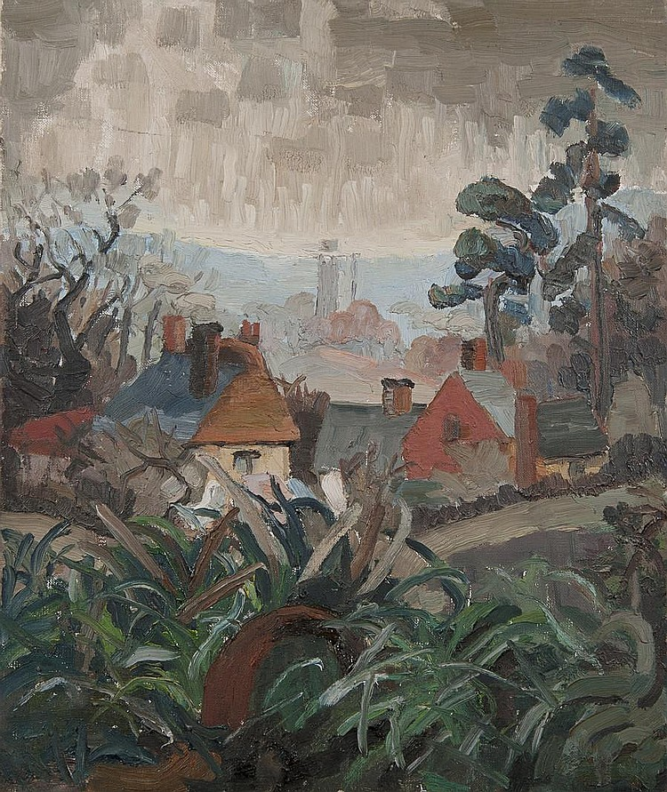 Lucy Harwood (British, 1893-1972) Houses in a landscape with Kersey church to the rear