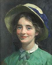 FRANK BRAMLEY, R.A. (BRITISH, 1857-1915) Portrait of a girl in a hat signed with