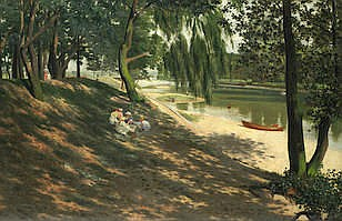 CHARLES J. WALKER (BRITISH) A picnic on Hampstead Heath signed and dated '1907/C