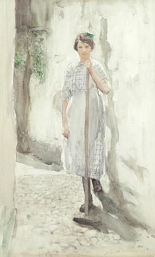 * HENRY EDGAR CROCKETT (BRITISH, 1870-1926) Household chores, two portraits of a