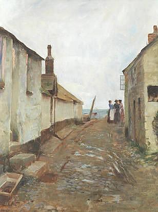 * HENRY EDGAR CROCKETT (BRITISH, 1870-1926) A fishing village street scene oil o