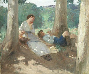 * HENRY EDGAR CROCKETT (BRITISH, 1870-1926) Relaxing among the trees oil on boar
