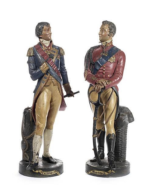 After René Charles Masse, French (1855-1913) A pair of cold painted spelter figures of Wellington and Nelson