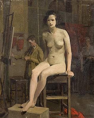 Charles Knight (British, 1901-1990) Female nude in a studio