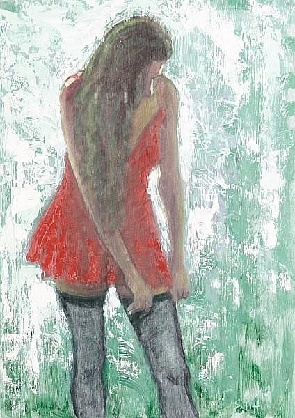 Sheila Tiffin (British, born 1959) Girl in red dress