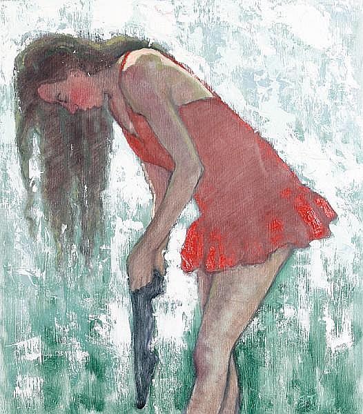 Sheila Tiffin (British, born 1959) Girl putting on stockings