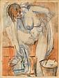 Wolf Kibel (Polish, 1903-1938) Nude washing 21.5 x 16 cm. (8½ x 6½ in.), Wolf Kibel, Click for value