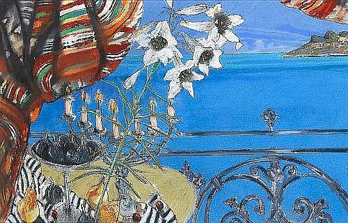 Louis Jansen van Vuuren (South African, born 1949) Flowers and figs, Leeukop 58.5 x 91.5 cm. (23 x 36 in.)