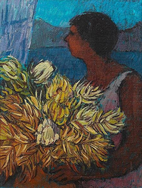 Eleanor Esmonde-White (South African, born 1914) Woman with proteas 63.5 x 49 cm. (25 x 19¼ in.)
