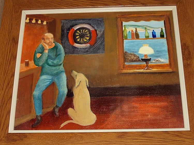 Victorine Foot (British, 1920-2000) 'Fisherman and his Dog'