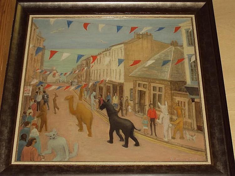 Victorine Foot (British, 1920-2000) 'Carnival Day, Lyme Regis'
