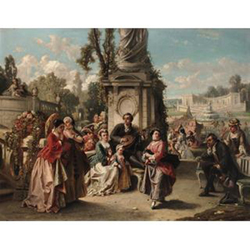 Auguste Serrure (Flemish, 1825-1903), The garden partyoil on panel, signed, inscribed Anvers and dated 1853