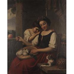 Ferdinand Minor (German, 1814-1883) Idle moments