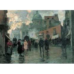 Romolo Leone (19th/20th century French) CONTINENTAL STREET SCENE AFTER A SHOWER OF RAIN Signed lower right, oil on board 21x29cm (8 1/2x11 1/4in)