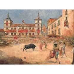Emilio Poy Dalmau (b.1876 Spanish) BULLFIGHTING IN A SPANISH PLACA Signed lower left, oil on canvas 29x38cm (11 1/2x15in)