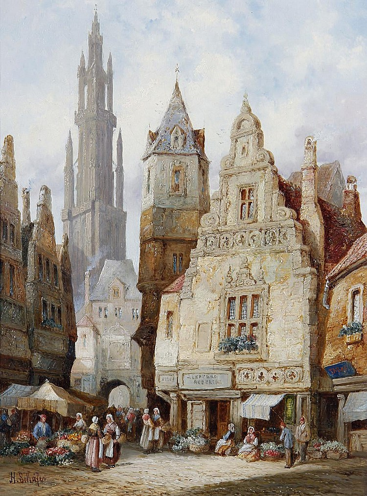 Hermann Schäfer (German, born 1880) 'Abbeville, Normandy'; 'Antwerp, Belgium', a pair each 41.5 x 30.5cm (16 5/16 x 12in), (2).