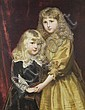 Alfred Edward Emslie (British, 1848-1918) Portrait of Jessica and Thomas Frost, she in a gold silk dress, her brother in Van Dyck costume, Alfred Edward Emslie, Click for value