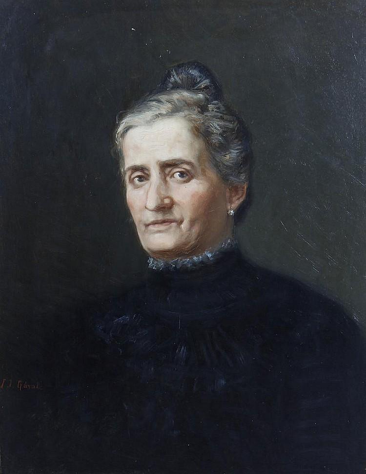 Juan José Garate y Clavero (Spanish, 1870-1939) Portrait of a woman, bust length, in a black dress
