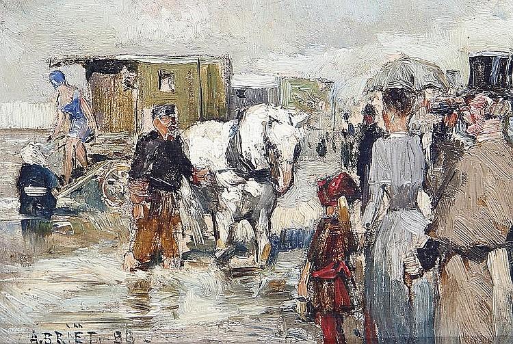 Arthur Henri Christiaan Briet (Dutch, 1867-1939) Figures and a bathing machine at the sea shore