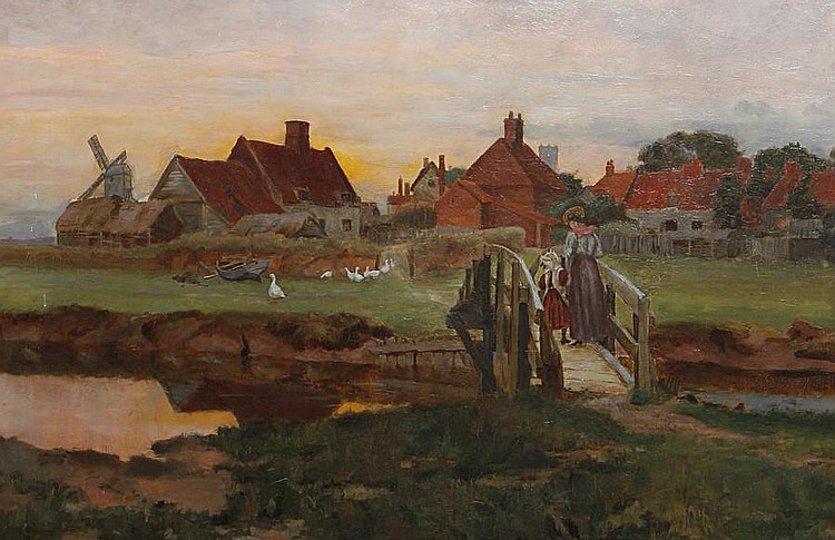 George Edward Cook (British, active 1880-1905) Figures crossing a bridge with a farmstead beyond